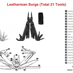 LEATHERMAN SURGE - 21 attrezzi in 1. Con fodero in pelle